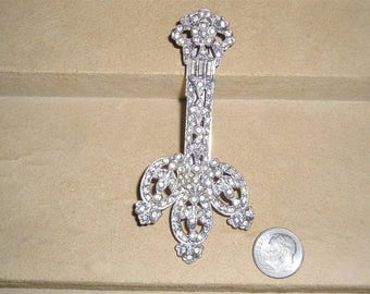 Vintage Large Art Deco Era Dress Clip With Clear Rhinestones Rhodium Plated 1930's Jewelry 11191