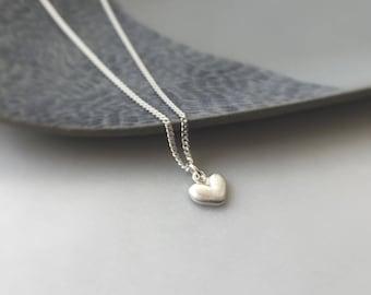 Heart necklace - Small sterling silver heart pendant on silver chain - silver heart - love - simple jewelry - everyday wear earrings