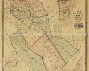 Camden County  New Jersey 1857  - Old Wall Map Reprint with Homeowner Names