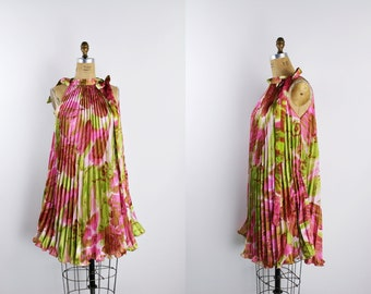 Vintage Pleated Trapeze Dress / Floral Dress / Accordion Dress / Vintage Tent Dress / Pink and Green Dress / One Size
