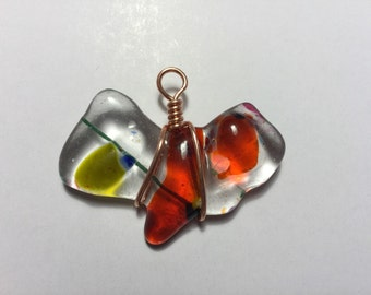 Glass and copper pendant