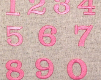 "Numbers - 1.25"" - Pink - Iron on Applique/Embroidered Patch"