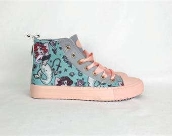 Mermaid shoes, fairy fei, nautical shoe, custom shoes, women shoes, mermaid clothing, custom shoes, rockabilly shoes, hipster, harajuku shoe