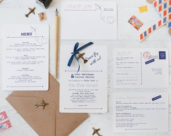 Fly With Us DIY Wedding Invitation Pack - Minimum order of 25