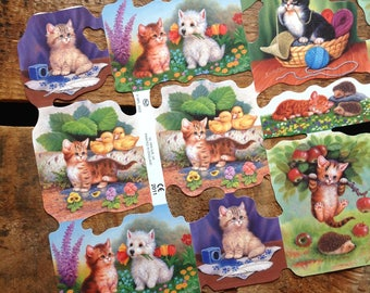 German Scraps - Baby Kittens - Die Cuts, Cut Outs, Reproduction, Vintage Style, Vintage Inspired, Cute Kittens, Paper Ephemera, Kitten Paper