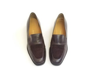 Vintage Womens 6 Enzo Angiolini Slip On Loafers Loafers Heeled Oxfords  Genuine Leather Shoes Classic 90s Hipster Preppy High Fashion Boho