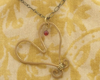 Hammered Brass Heart with Garnet Drop