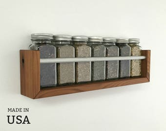 Spice Rack, Wood Spice Rack, Wall Spice Rack, Modern Spice Rack, Small Spice Rack, Wall Mount, Wall Mountable, Wooden Spice Rack Made in USA