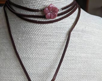 Surfer Rosa Rhodonite and Suede Lariat Wrap Choker Necklace