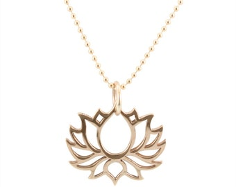 Bronze Open Lotus Necklace on Gold Fill Bead Chain, Lotus Flower, Bronze Lotus, Flower, #6584