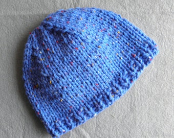 Boys toddler knitted hat blue tweed pure australian wool 9-18 months warm winter fall basic beanie READY MADE