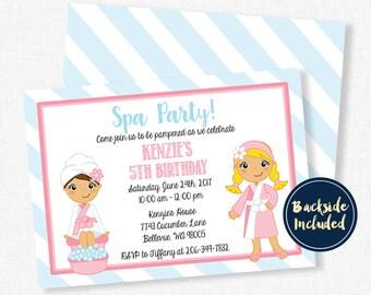 Spa Party Invitation, Spa Birthday Invitation, Girl Birthday Invitation, Mani Pedi Pamper Party