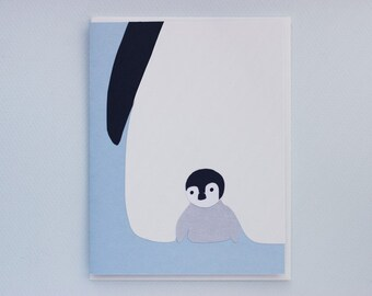 Penguin Peekaboo - papercut collage card