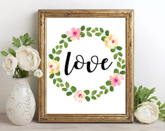 Love Wall Art, Love Flower Printable, Love Flower Print, Flower Decor, Love Wall Art, Love Print, Watercolor Love Art, Love Artwork