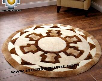 100% Baby Alpaca round Fur Rug Round Shield FREE SHIPPING Worldwide