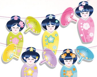 Kokeshi banner (Printable), Geishas, japanese dolls bunting banner,  5 cute kokeshi pennant for Japanese party - instant download
