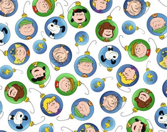 PEANUTS - Christmas Time - Character Ornaments in White - Charlie Brown & Snoopy Cotton Quilt Fabric - Quilting Treasures - 22655-Z (W4025)