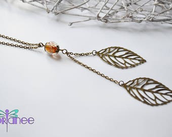 ° Necklace leaves ° Golden glass bead