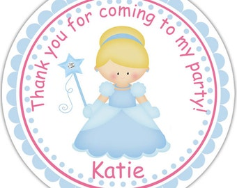 Princess Cinderella - Personalized Stickers, Party Favor Tags, Thank You Tags, Gift Tags, Address labels, Birthday, Baby Shower