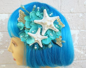 Starfish Hair Clip,Teal Starfish Mermaid Hair Clip, Mermaid Headpiece, Knobby Starfish Hair Clip, Beach Wedding