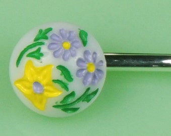 Vintage Milkglass Floral Hairpin