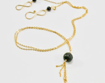 Gold and Lava Stone Necklace- 14KT Gold and Lava Stone Necklace- 14KT Gold Necklace- Lava Necklace- Long Gold Necklace- Gold and Black