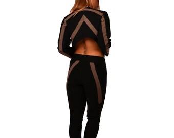 Two-piece set/ Jacket+Leggings set/ Boho set/ Yoga leggings/ Short jacket/ Cropped jacket/ Boho jacket/ Long pants/ Asymmetric jacket