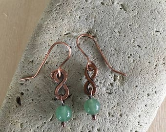 Women's earrings - Aventurine beaded - Copper - Metal Artisan Handmade Drop Dangle