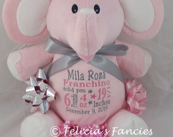 Personalized stuffed animal, Pink, Blue, Lavender or Mint Green Elle Elephant Cubbie, birth stats or name keepsake, stuffed animal