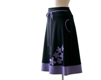 Aline skirt with flowers application. Jersey skirt with pockets. Spring womens skirt. Pocket skirt for day and work. Custom plus size skirt.