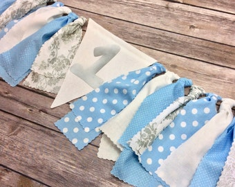 Wall Banner or High Chair Fabric Birthday Banner in Light Blue and Grey / Baby Blue and Silver, Photo Backdrop, Winter Onederland, One Year