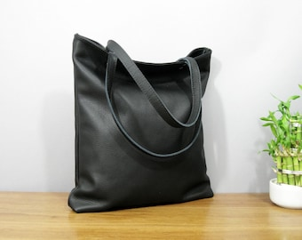 LEATHER TOTE BAG, Large Black Leather Tote Bag, Black leather purse, Tote Bag, oversized black bag, black leather bag - Large Madrid -