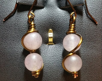 Lt Pink Jade Bead and Copper Wire Earrings