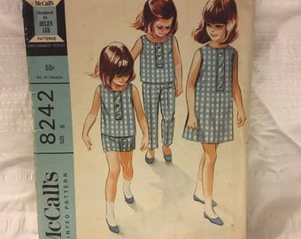 Retro McCalls Helen Lee pattern 8242, size 6  Dress, Top, Pants and Shorts for those hot summer days, sleeveless and easy to sew.