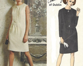 1960s Sybil Connolly Womens One Piece Dress Step In Vogue Sewing Pattern 1876 Size 10 Bust 32 1/2 Vogue Couturier Design Pattern