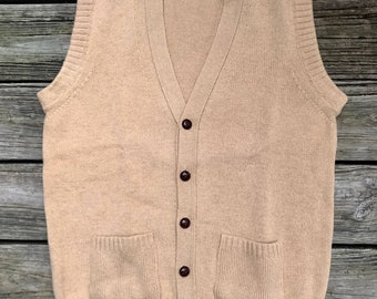 L.L. BEAN Vintage Camel Hair & Lambswool Grandpa Cardigan Sweater Vest Men's L
