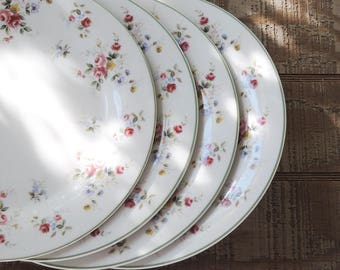 Vintage Royal Vale Bone China Dinner Plates  Set of 4, Replacement China, Cottage Style Tablesettings