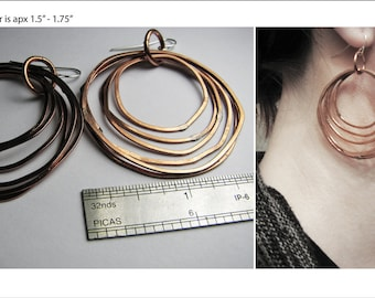 Copper Hoop Earrings - Copper Jewelry - Multiple Copper Rings - handmade in Austin, Tx