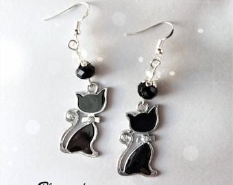Elegant cat earrings