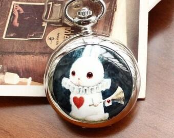 1pcs 45mmx45mm silver color rabbit pocket watch charms pendant PW183