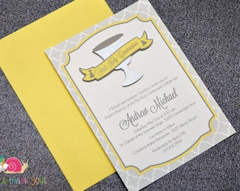First Holy Communion Invitations · A6 FLAT · Sunshine Yellow and Gray · Silver Chalice | Banner | Moroccan Tile