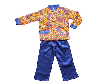 """FRENCH VINTAGE 60/70's / kids / patterned pajamas / nightwear / """" Spades """" pattern / new old stock / size 2 years"""