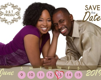 Monogram Calendar Save the Date Postcards