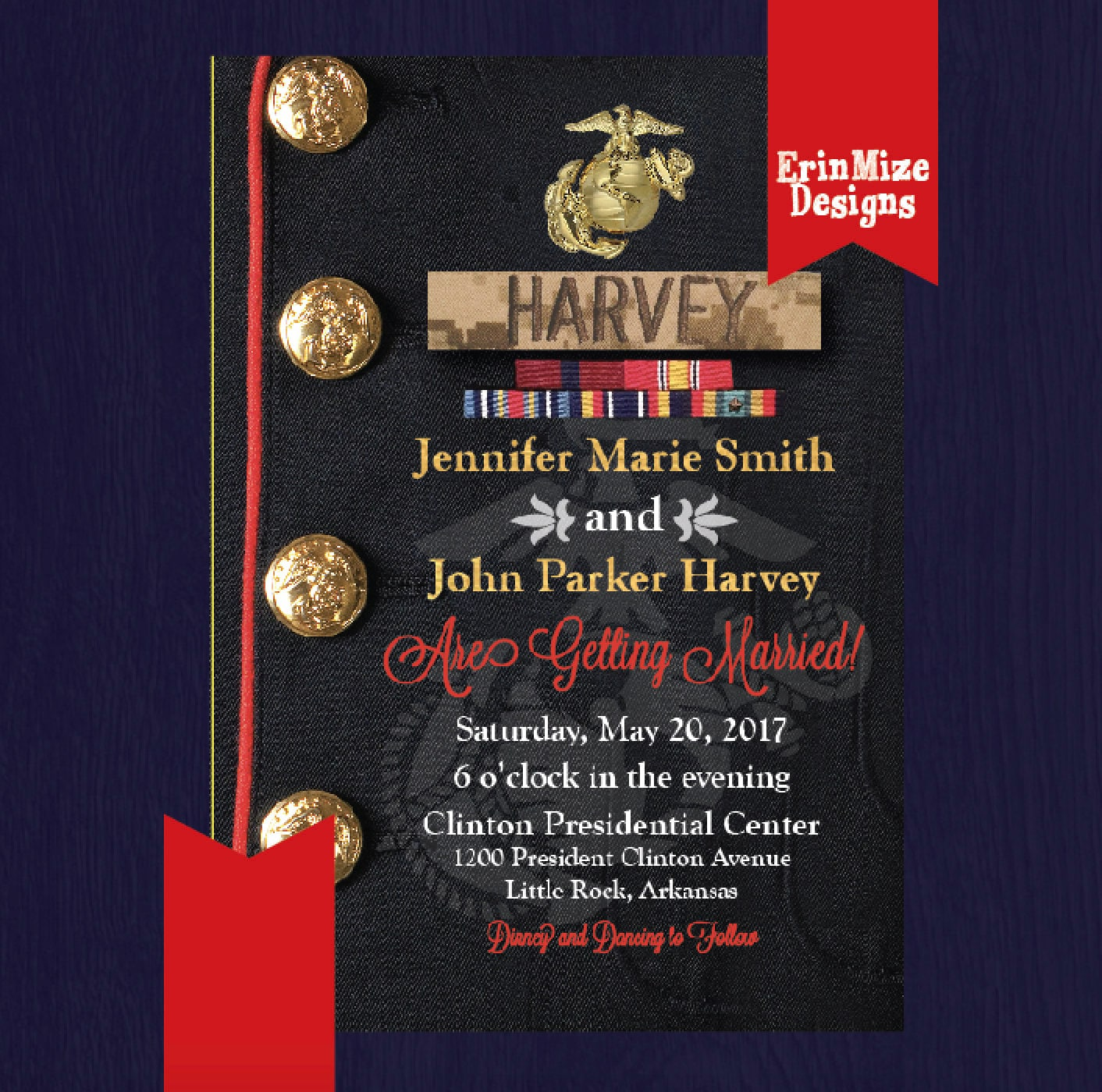 Marine Wedding Invitation Dress Blues Personalized Military