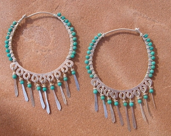 Turquoise and Silver Hoops