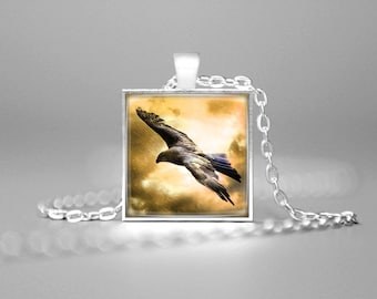 SOAR LIKE an EAGLE Necklace Eagle Charm Necklace Golden Eagle Jewelry Golden Eagle Art Golden Eagle Pendant Eagle Gift Bird Watch