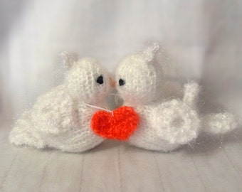 Knitted souvenir two lovers dove gift for Valentine's Day.
