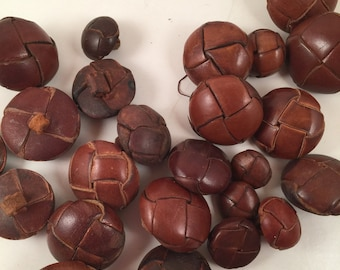 Vintage Dark Brown Leather Buttons, 1/2 3/8 in, Lot #2 Leather Shank Buttons,Clothes Buttons, Jewelry Buttons,Metal Shank, Leather Shank