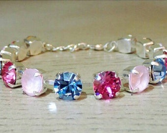 Swarovski Crystal, Tennis Bracelet, Pink and Blue Bracelet, Silver Tennis Bracelet, Pink Swarovski Crystal, Pink Jewelry, Gifts for Her
