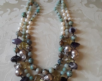 Three strand amythyst, fresh water, citrine and turquoise rock jasper necklace